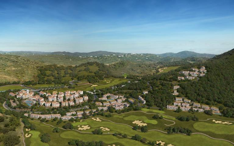 Aerial perspective of Ombria Resort and the golf course