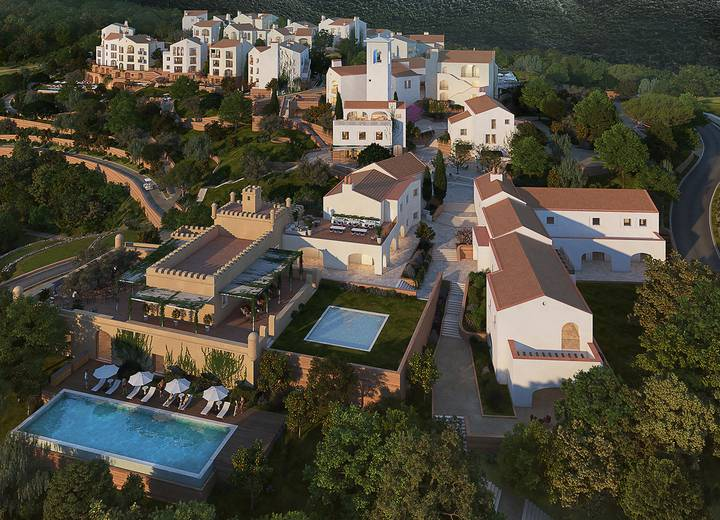 Aerial perspective of all buildings of Ombria Resort
