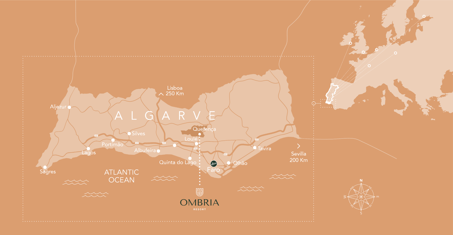 Map of the Algarve showing the location of Ombria Resort