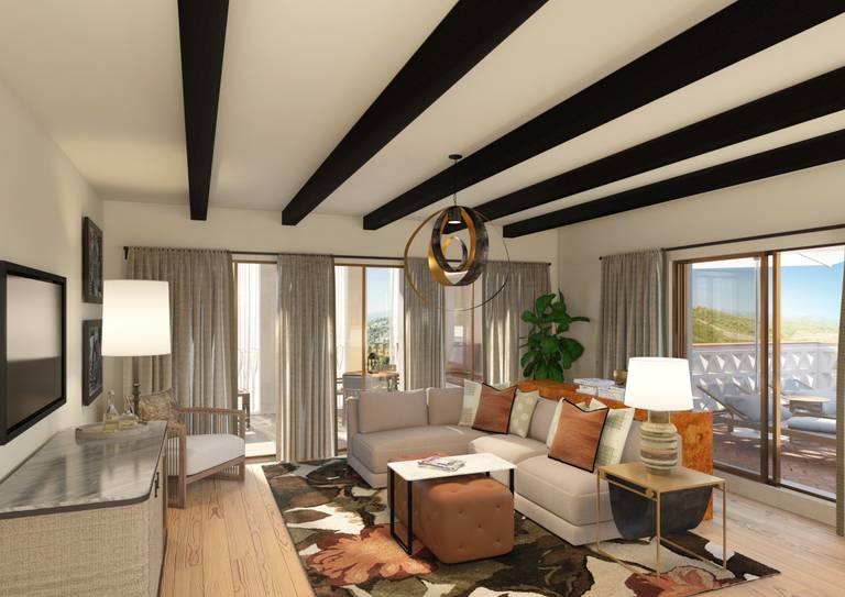 Viceroy Residences - Sala de estar com sofá e varanda
