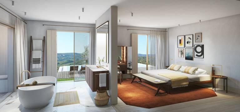 Alcedo Villa - Vista interna de um quarto com casa de banho à esquerda e cama de casal à direita