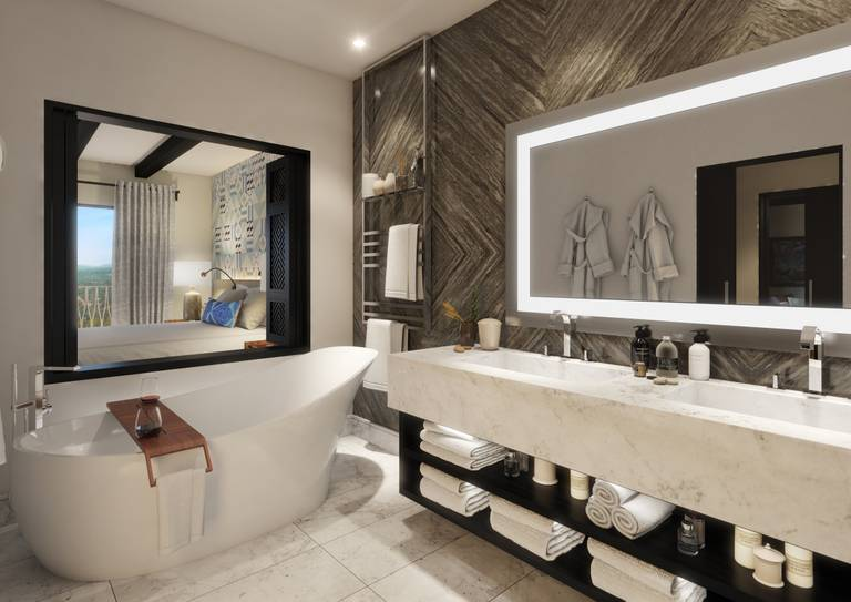 Viceroy Residences - Bathroom with bathtub and bedroom at left side