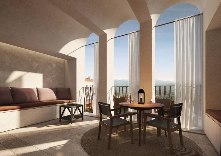 Viceroy Residences - Covered terrace with view to the mountains