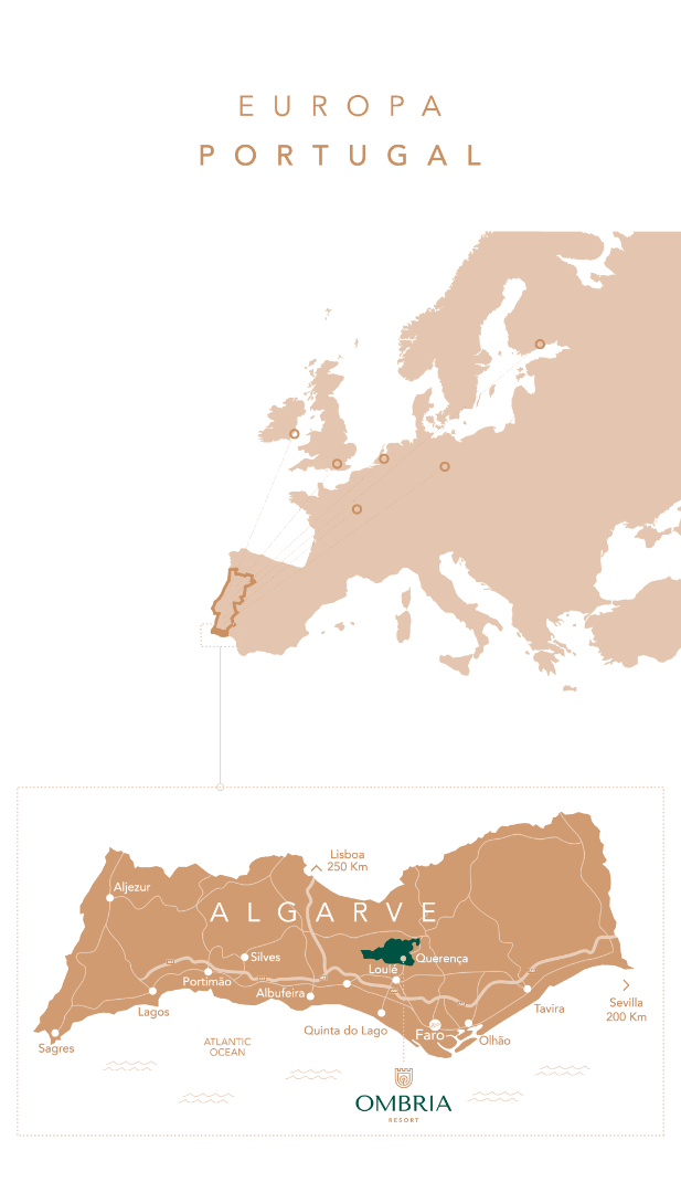 Map of Europe and Algarve