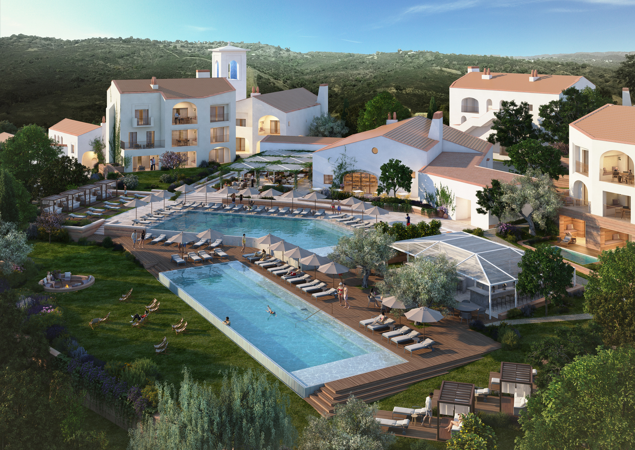 Vista para as piscinas do Ombria Resort